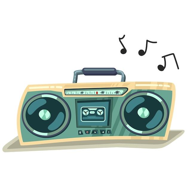 Illustration Rétro De Dessin Animé Enregistreur Stéréo Cassette Boombox Isolé Sur Fond Blanc. Vecteur Premium