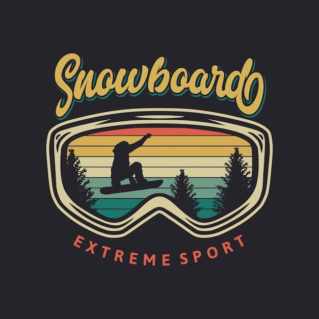 Illustration Rétro De Sport Extrême De Snowboard Vecteur Premium
