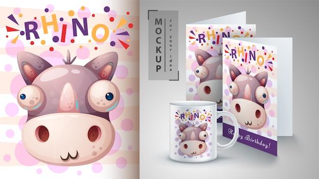 Illustration de rhinocéros fou Vecteur Premium