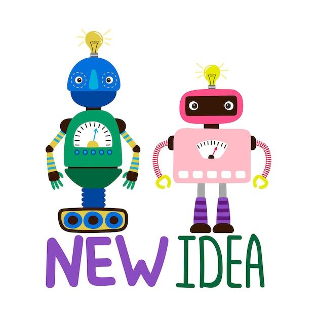 Illustration De Robots Mâles Et Femelles Vecteur Premium