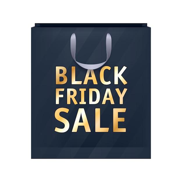 Illustration de sac shopping noir vendredi vente papier. Vecteur Premium