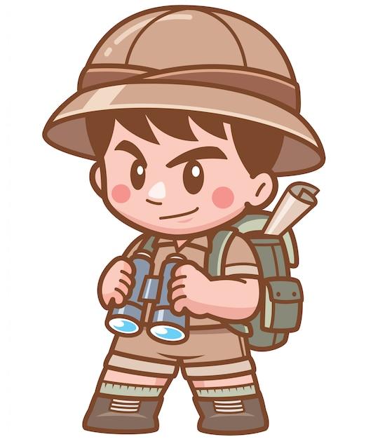 Illustration de safari boy tenant des jumelles Vecteur Premium