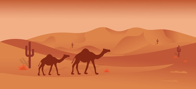 Illustration safari dans le désert Vecteur Premium