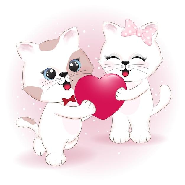 Illustration De La Saint-valentin Couple Chat Et Coeur Vecteur Premium