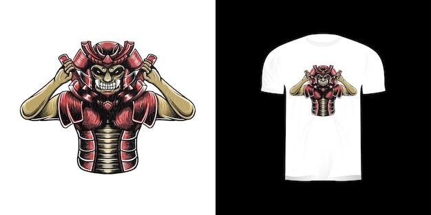 Illustration De Samouraï Pour La Conception De Tshirt Vecteur Premium