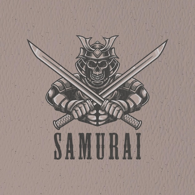 Illustration De Samouraï Rétro Pour Le Caractère Du Logo Et La Conception De T-shirt Vecteur Premium