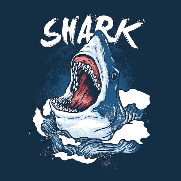 Illustration Sauvage De Poisson Requin Vecteur Premium