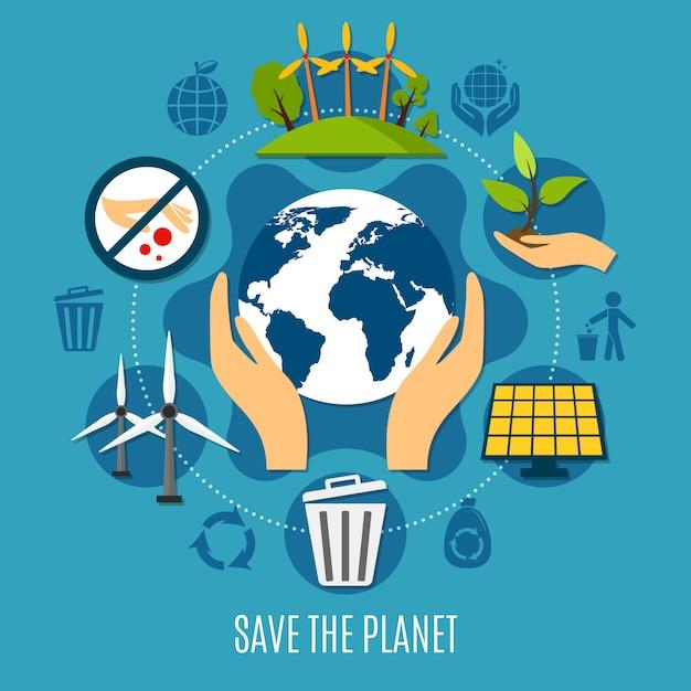 Illustration de save the planet Vecteur gratuit