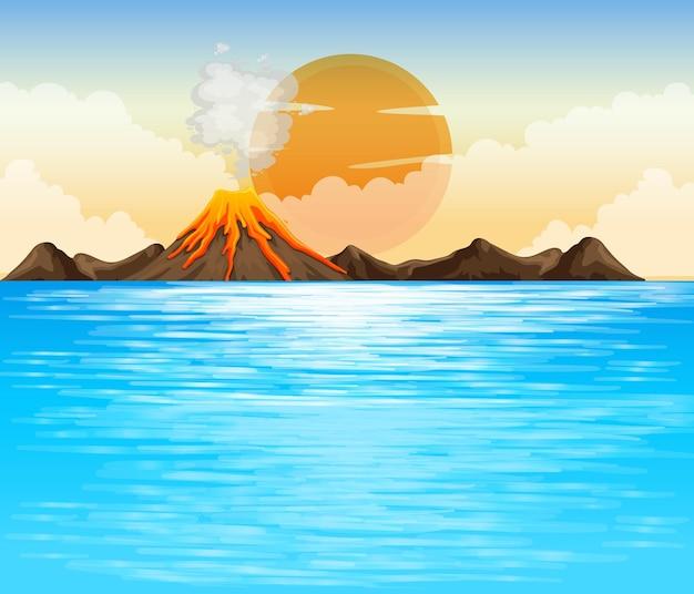 Illustration De La Scène Extérieure De L'éruption Volcanique Vecteur gratuit