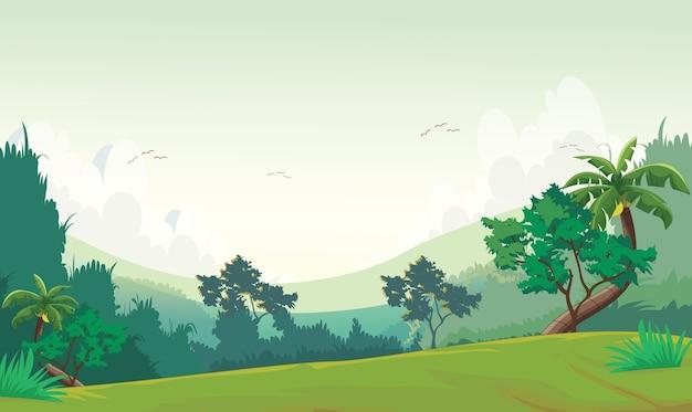 Illustration de la scène de la forêt au moment de la journée Vecteur Premium