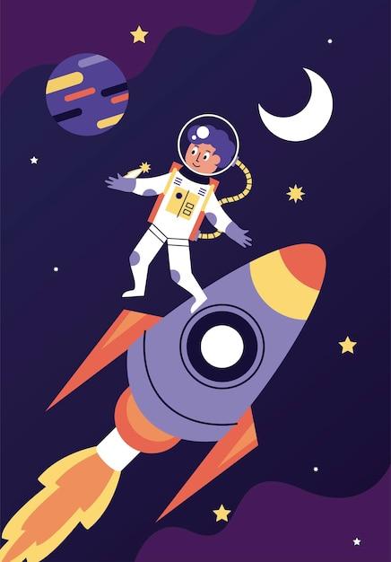 Illustration De Scène Spatiale Garçon Et Fusée Astronaute Vecteur Premium
