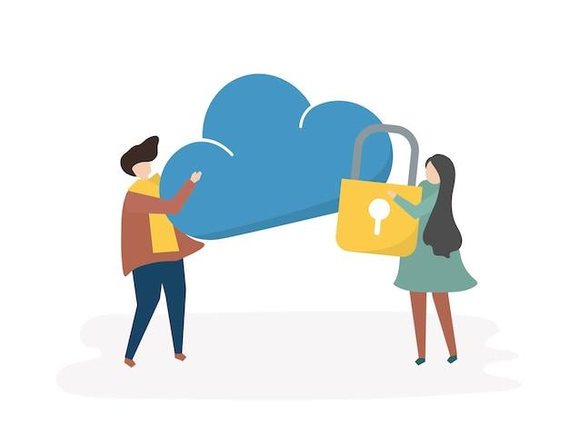 Illustration de la sécurité des données informatiques Vecteur gratuit