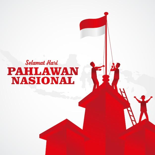 Illustration. Selamat Hari Pahlawan Nasional. Traduction: Bonne Journée Nationale Des Héros Indonésiens. Convient Pour Carte De Voeux, Affiche Et Bannière Vecteur Premium