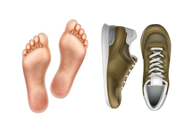 Illustration Des Semelles De Pied Gauche Et Droite Pour Paire De Chaussures De Sport Vecteur Premium
