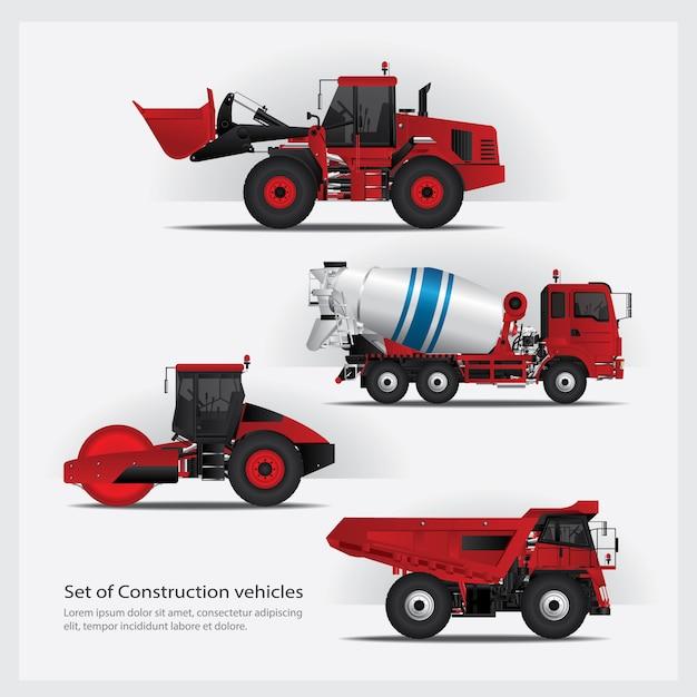 Illustration de la série de véhicules de construction Vecteur Premium