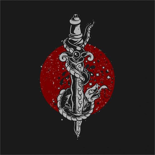Illustration De Serpent Poignard Vecteur Premium