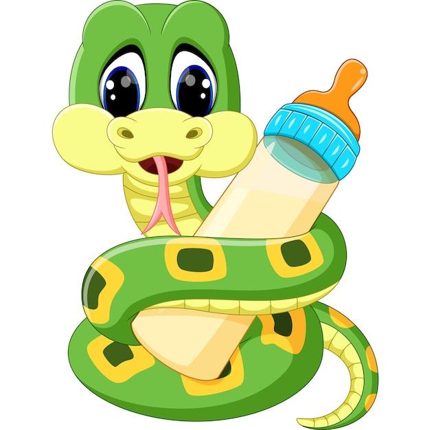 Illustration de serpent vert mignon tenant la bouteille de lait Vecteur Premium