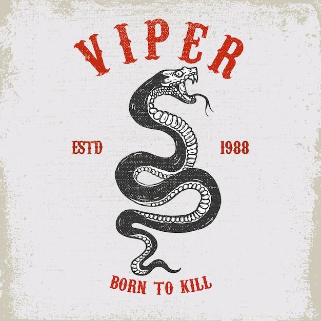 Illustration De Serpent Vipère Sur La Texture Grunge Vecteur Premium