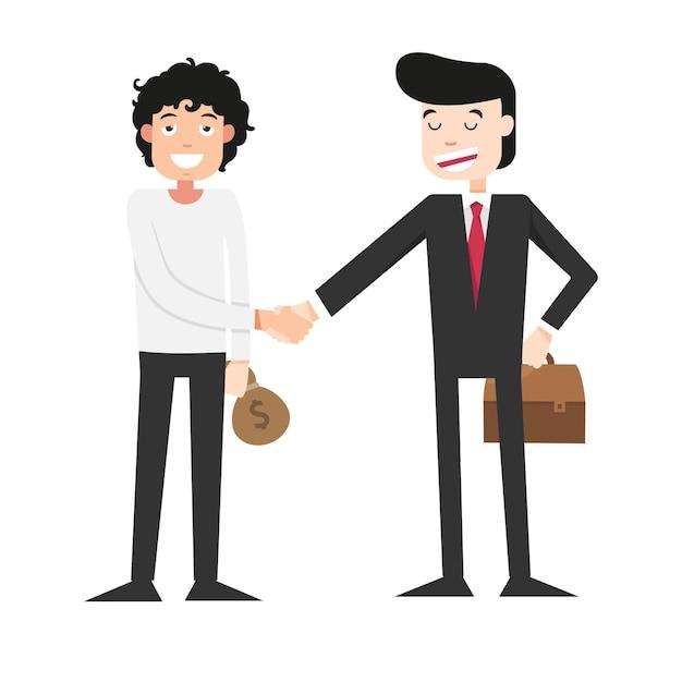 Illustration De Serrer La Main Avec L'homme D'affaires Vecteur Premium