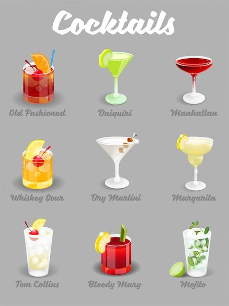 Illustration Sertie De Différents Cocktails De Glace Glacée Alcoolique Vecteur Premium