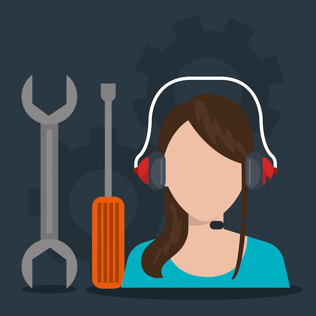 Illustration De Service De Centre D'appels Vecteur gratuit