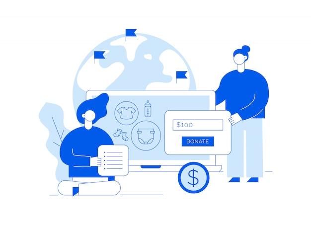 Illustration de service de donation de vecteur avec les grandes personnes, coeur, terre, volontariat des femmes Vecteur Premium