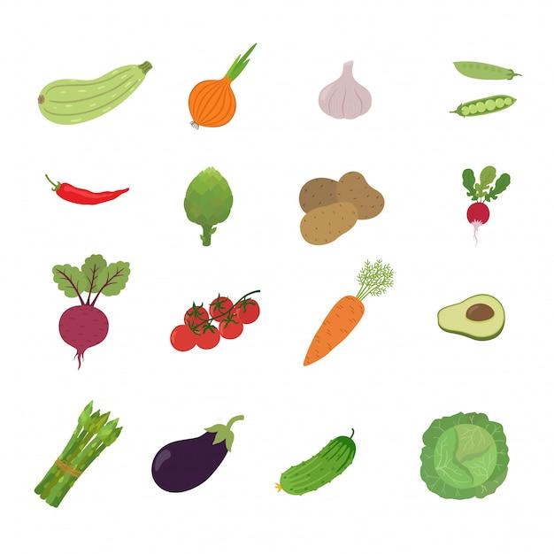 Illustration set de légume Vecteur Premium