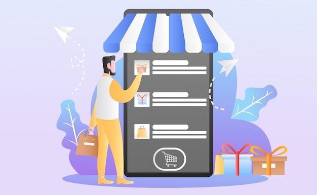Illustration de shopping en ligne plate Vecteur Premium
