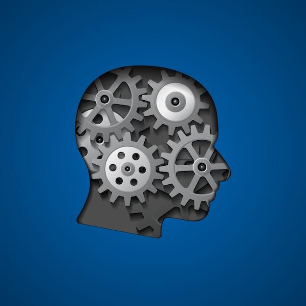 Illustration De La Silhouette De La Tête Avec Des Engrenages à L'intérieur Pour La Créativité, La Pensée, La Connaissance Et Le Concept De Cerveau Vecteur Premium