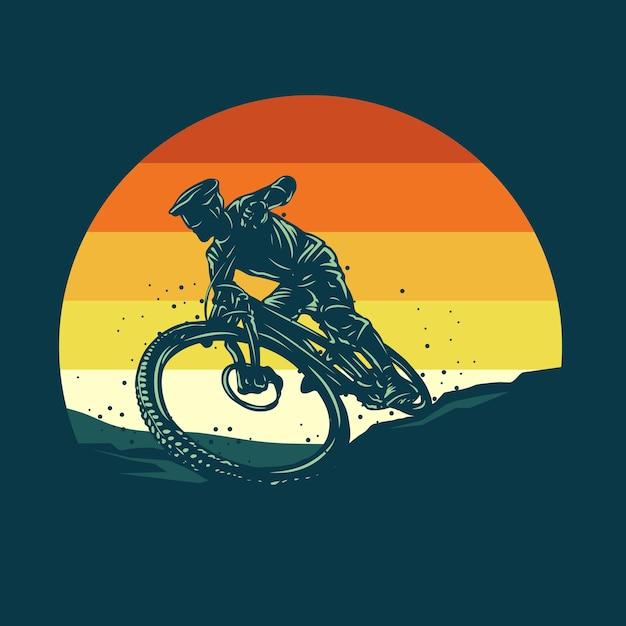Illustration De Silhouette De Vélo De Montagne Vecteur Premium