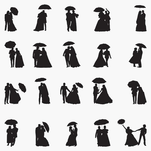 Illustration De Silhouettes De Parapluie Nouvellement Mariage Vecteur Premium