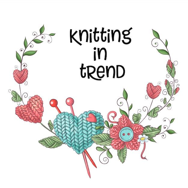 Illustration simple avec une aiguille à tricoter Vecteur Premium
