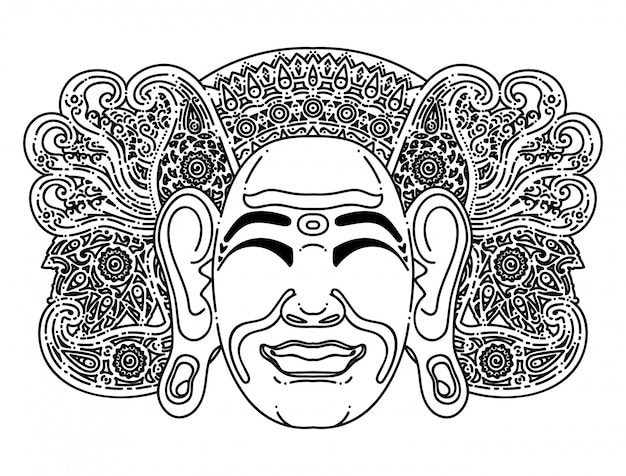 Illustration simple de masque traditionnel balinais Vecteur Premium