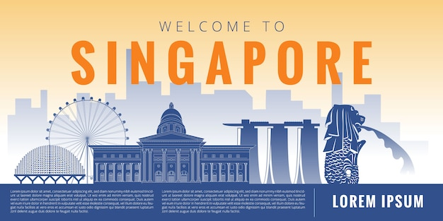 Illustration De Singapour Vecteur Premium