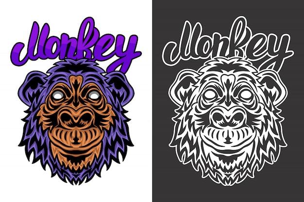 Illustration de singe visage animal vintage Vecteur Premium