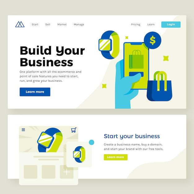 Illustration de site de commerce électronique Vecteur Premium