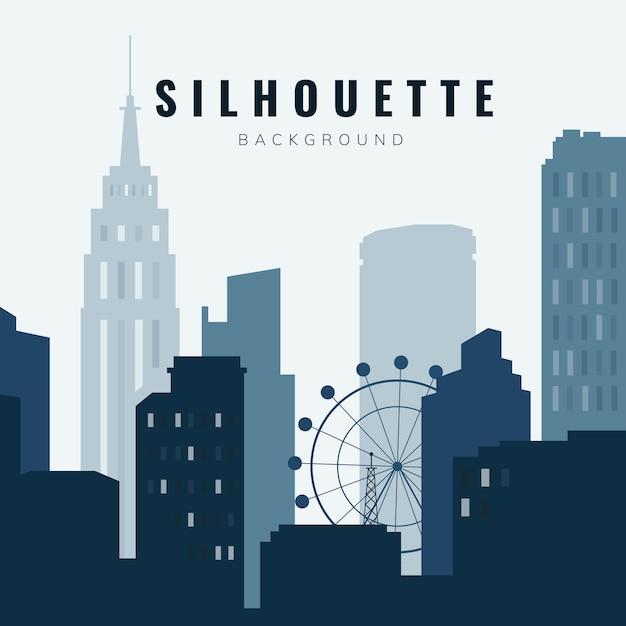 Illustration de skyline silhouette Vecteur gratuit