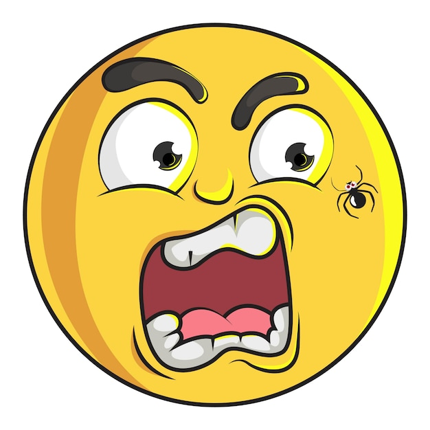 Illustration de smiley emoji mignon est effrayé. Vecteur Premium