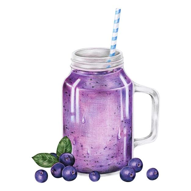 Illustration de smoothie aux fruits boire un style aquarelle Vecteur gratuit