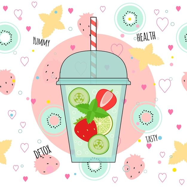Illustration de smoothies détox Vecteur Premium
