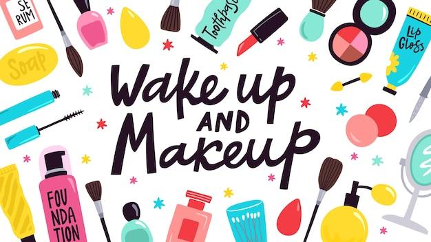 Illustration De Soins De La Peau Et De Maquillage Vecteur Premium