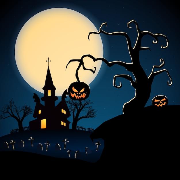 Illustration Sombre D'halloween Heureux Avec Cimetière De Citrouilles Maléfiques D'arbres Secs Château Effrayant Vecteur gratuit