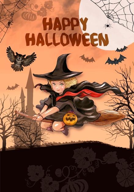 Illustration de la sorcière volante pour fond halloween Vecteur gratuit