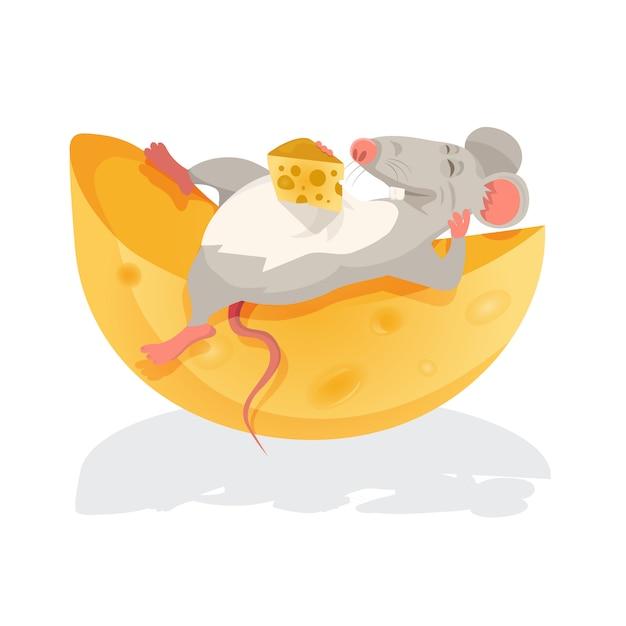 Illustration D'une Souris Assise Au-dessus D'un Fromage Vecteur Premium