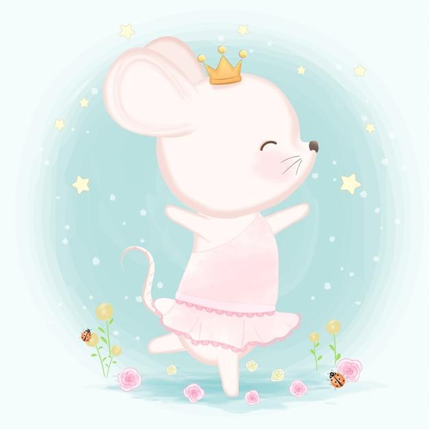 Illustration de souris mignonne dessiné Vecteur Premium
