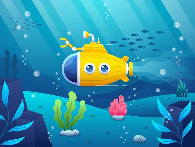 Illustration sous-marine jaune de dessin animé Vecteur Premium