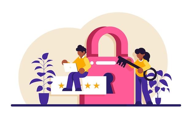 Illustration De Spécialiste De La Cybersécurité Ou De La Sécurité Web De L'administrateur De Données Vecteur Premium