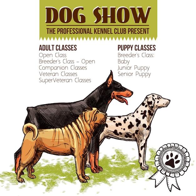 Illustration de spectacle de chiens Vecteur gratuit