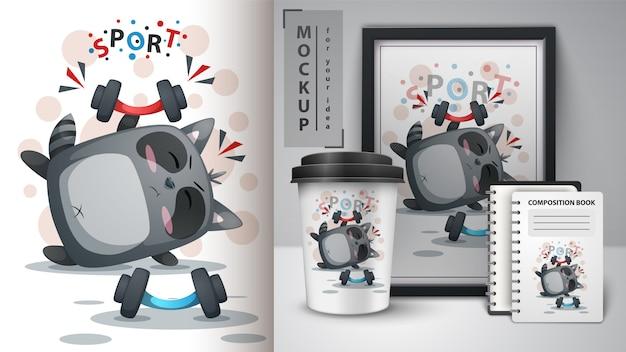 Illustration de sport de raton laveur Vecteur Premium