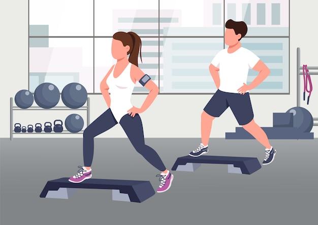 Illustration. Sportif Et Femme Instructeur D'aérobic Personnages De Dessins Animés 2d Avec Salle De Gym Sur Fond. Vecteur Premium